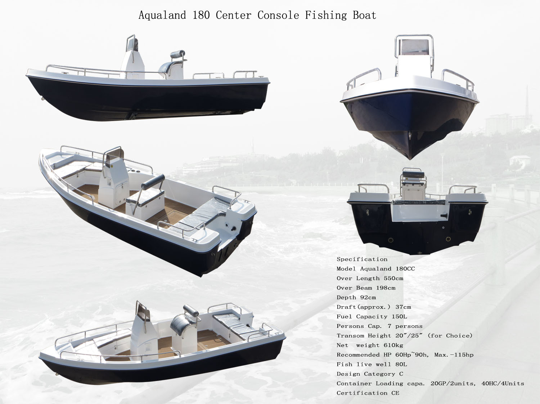 China Aqualand 18feet 5.5m Fiberglass Motor Boat/Sports Fishing Boat/Center Console/Panga Boat (180)