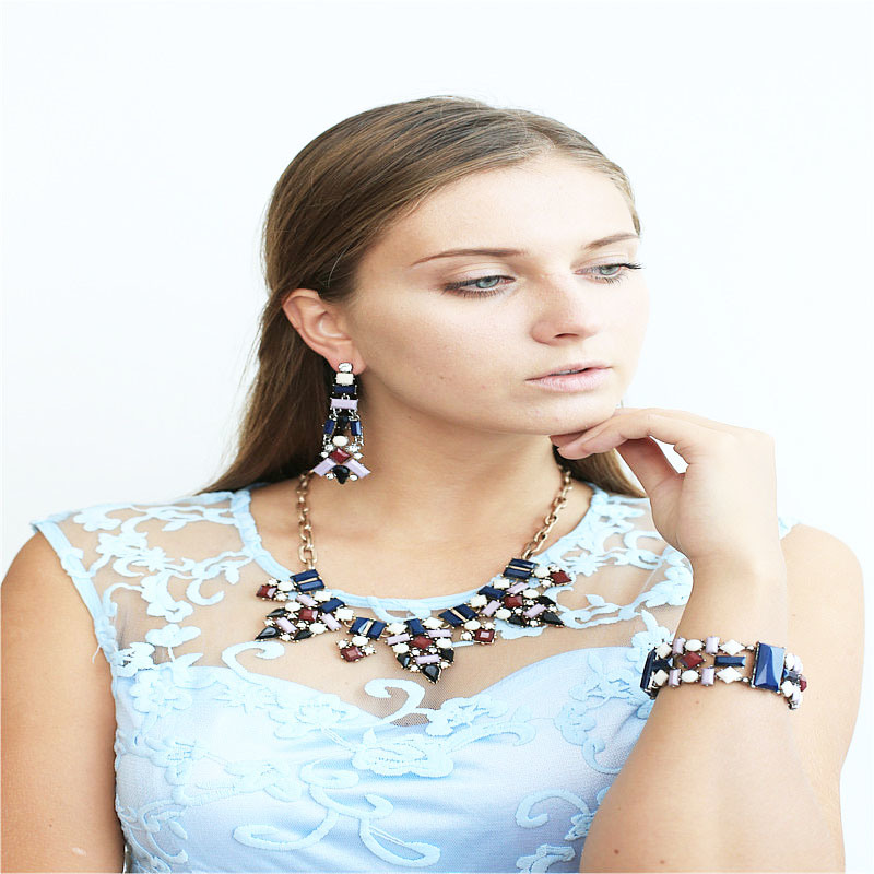 New Item Colorful Resin Acrylic Fashion Jewellery Set Earring Bracelet Necklace Fashion Jewellery