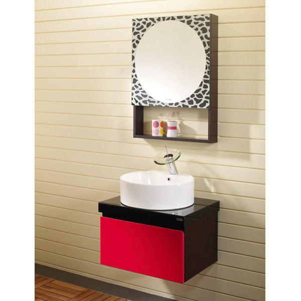 images of cherry red oak bathroom cabinet with leopard print mirror