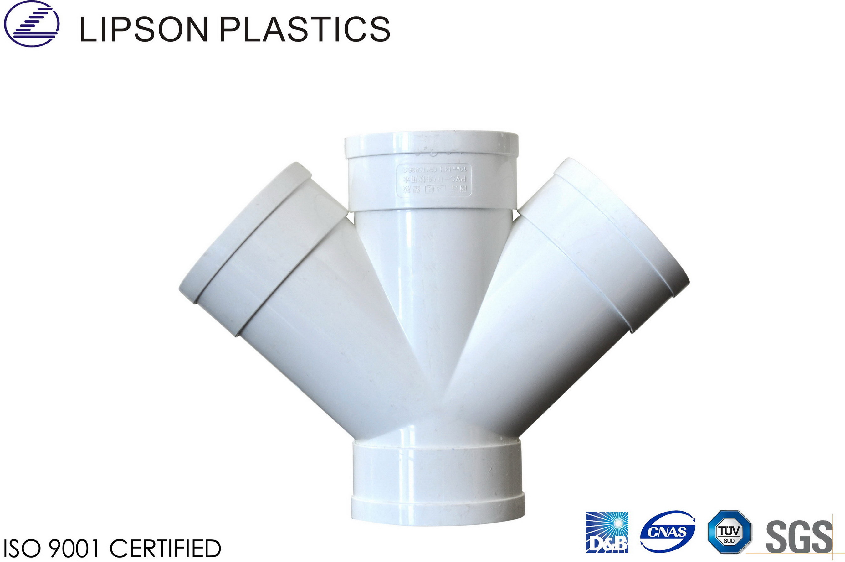 China white slant cross pvc pipe fittings for drainage