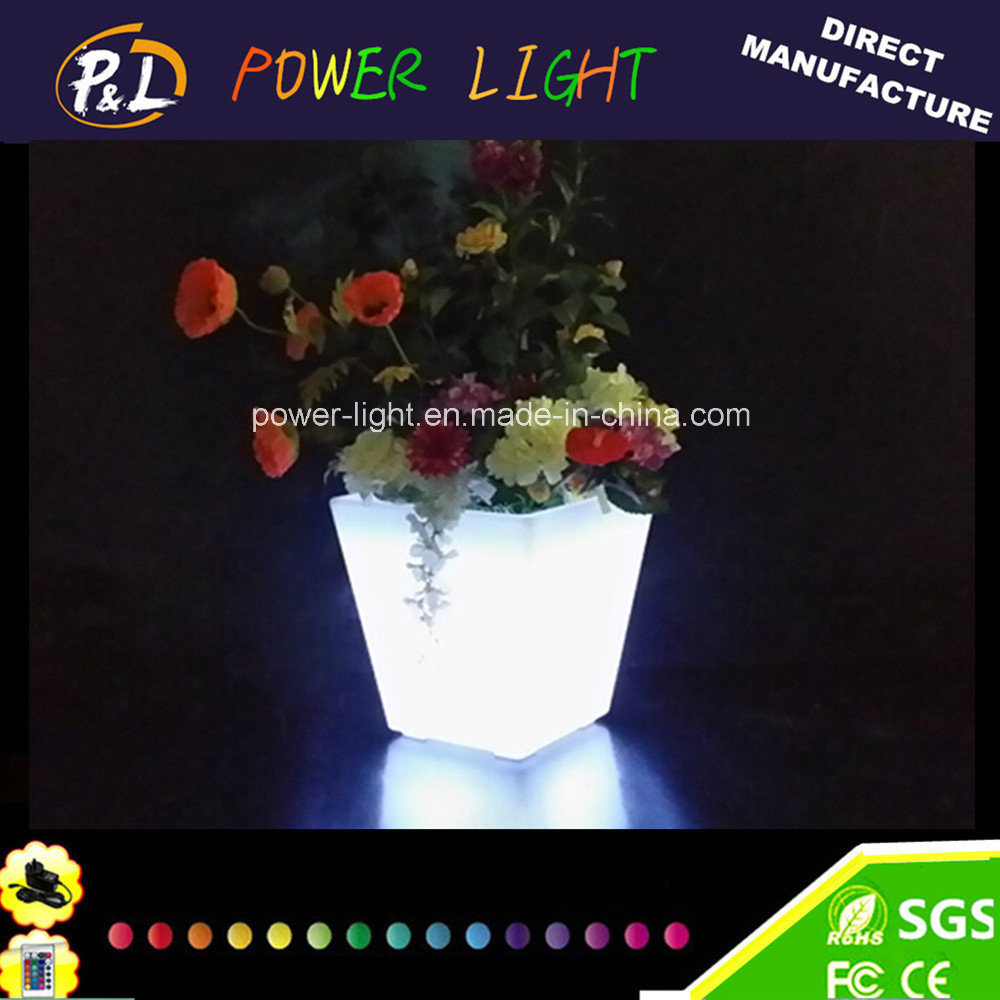 Wedding Party Office Decorative Square Cubic LED Flower Pot
