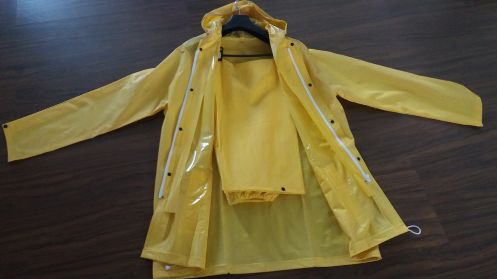 PVC Hooded Raincoat for Adult Yellow