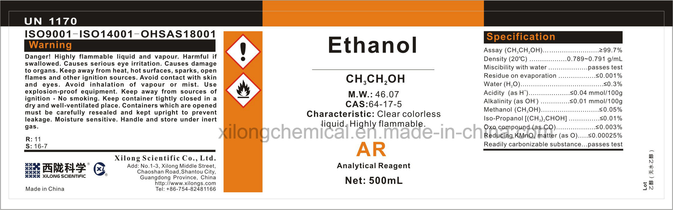 Analytical Reagent Ar Grade Ethanol Absolute