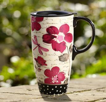 Flower Pattern Ceramic Mug, Enamel Mug, Porcelain Coffee Cup Gift Bone China Cup