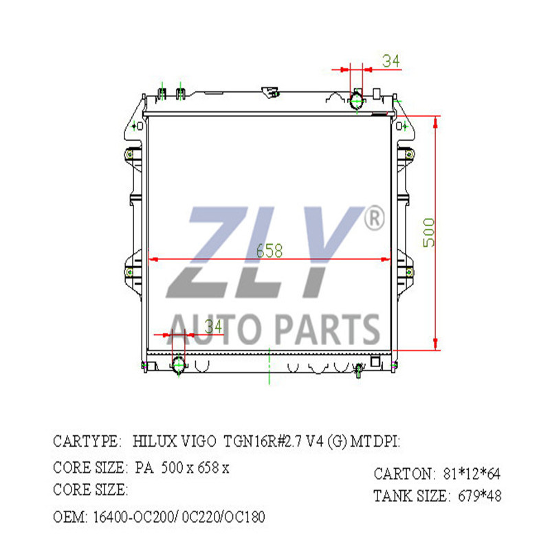 Radiator Assy for Hilux 06- Mtm PA26 16400-0c180