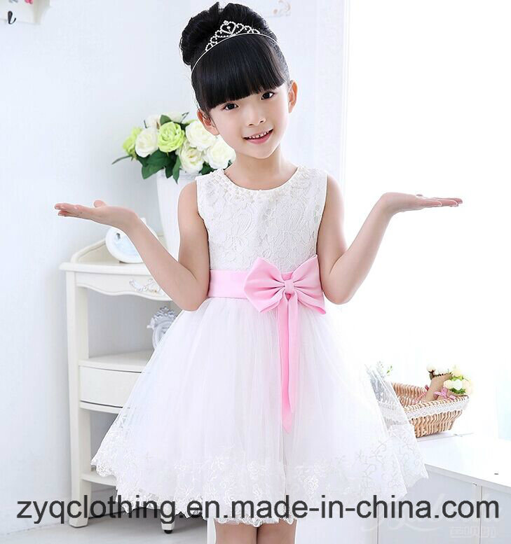 Wedding Dress, Little Girl′s Dress, Princess Dress with Bow-Knot