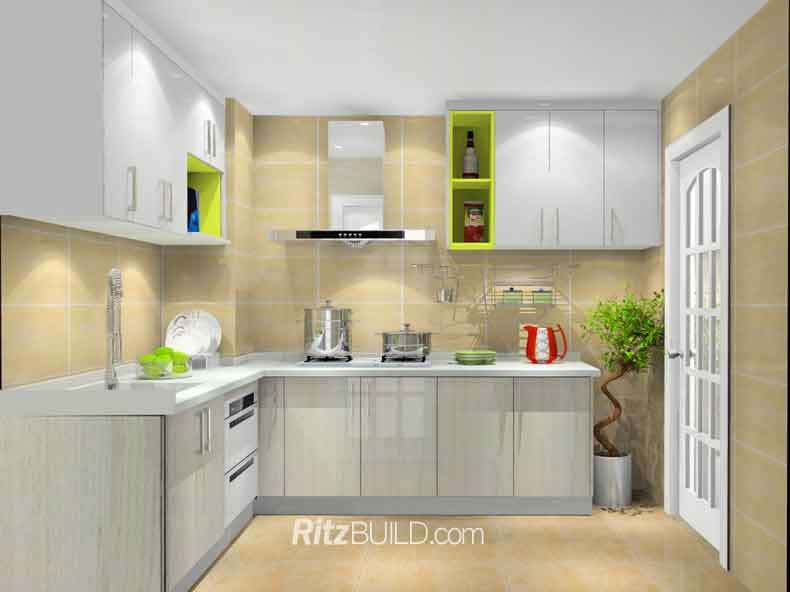 Kitchen Cabinet Material: 1. Carcase Material: Moisture Proof Particle  Board Or MDF, 16mm 2. Door Material: MDF Board, 18mm, 3 Kinds Lipping   Aluminum Alloy ...