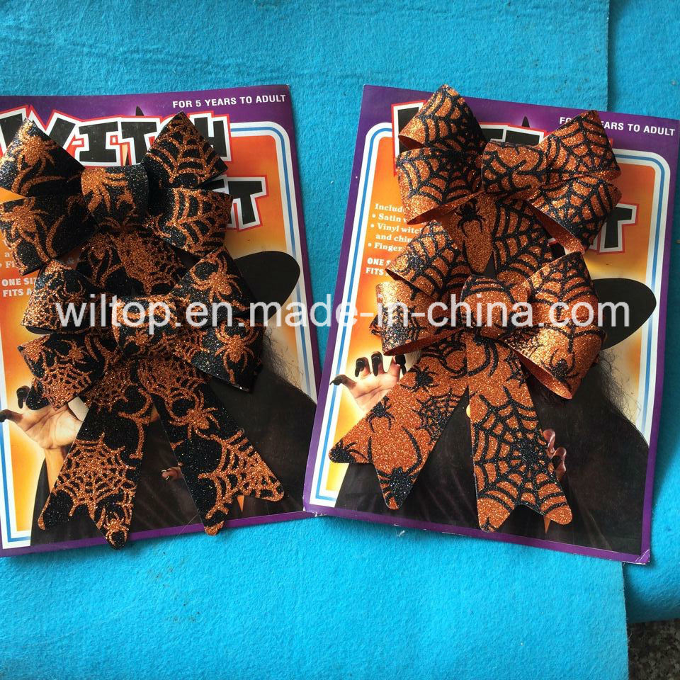 Halloween Glitter Pumpkin and Web Bow Ties (PM028)