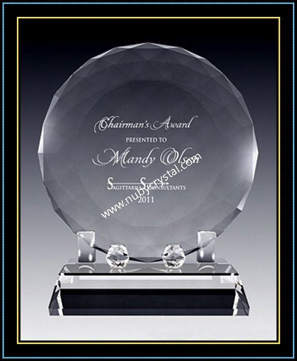 """Faceted Crystal Disk Award Plaques for Singer 6"""" Dia (NU-CW722)"""