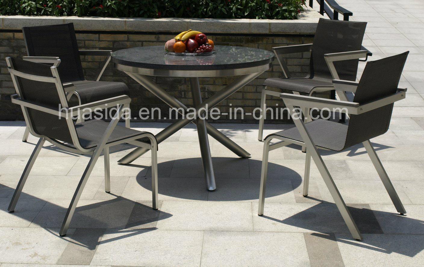 Rustless 304 Stainless Steel Garden Round Marble Table Set