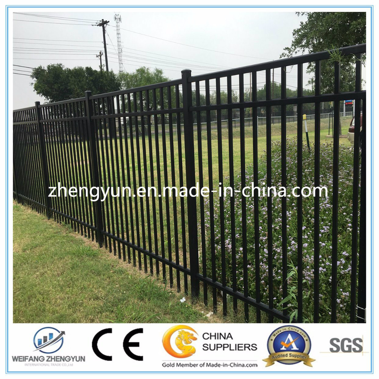 China Powder Coated Outdoor Security Fence/ Steel Fence