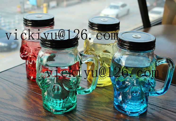Glass Skeleton Bottle Glass Drink Cup with Metal Cap