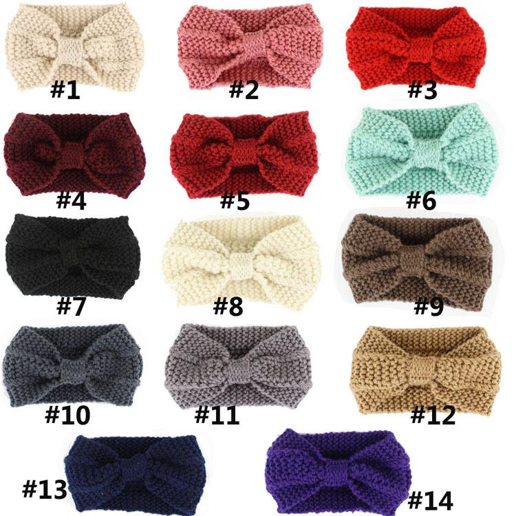 Winter Women Lady Ear Warmer Crochet Bowknot Turban Knitted Head Wrap Hairband Headband Headwear Hair Band Accessories