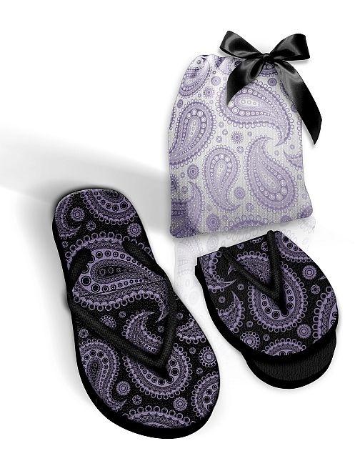 Foldable Pocket Flip Flops with Fabric Black or White Bag