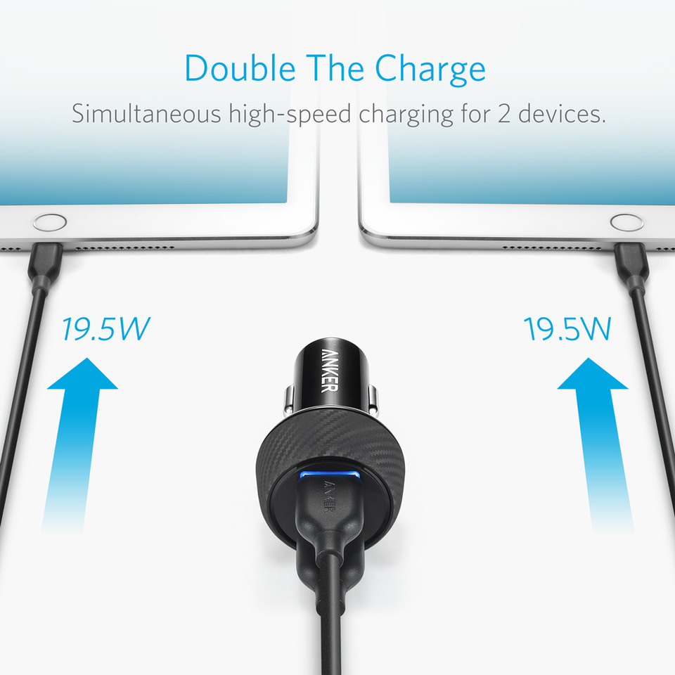 Anker 39W 2-Port Car Charger with Quick Charge 3.0