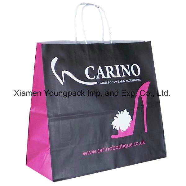 Fashion Custom Printed Art Paper Shopping Tote Carrier Bag Wholesale Promotional Small Gift Packaging Paper Bags