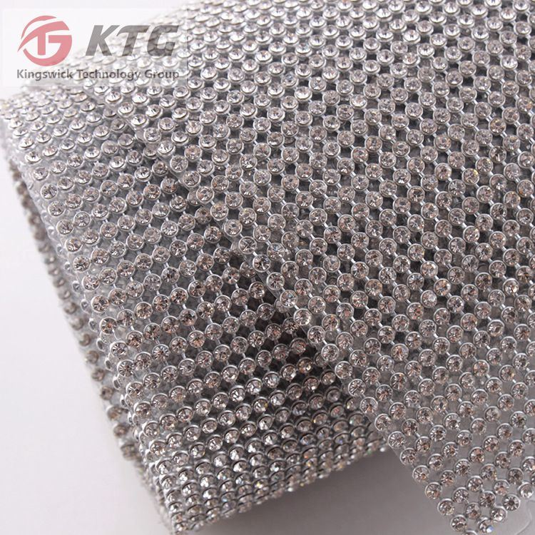 High Quality Hot Fix 3mm Aluminum Crystal Rhinestone Mesh