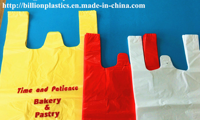 HDPE Plastic Plain Shopping Bag Bakery Bag Garbage Bag Rubbish Bag T-Shirt Bag Carrier Bag Shopping Bag Polybag Gusset Bag