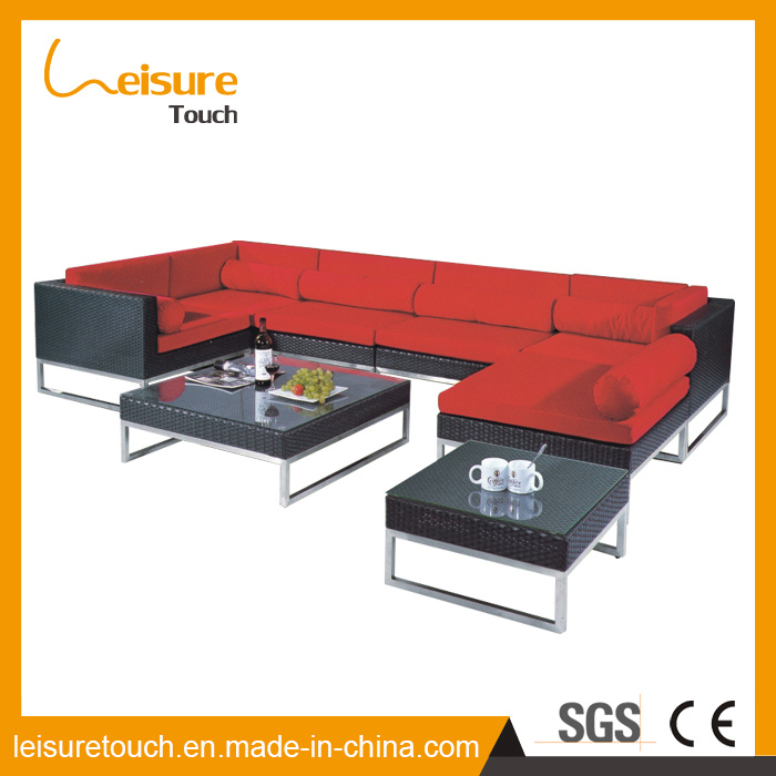 Outdoor Furniture Garden Swimming Pool Recreational Area Red Aluminum Rattan Corner Sofa