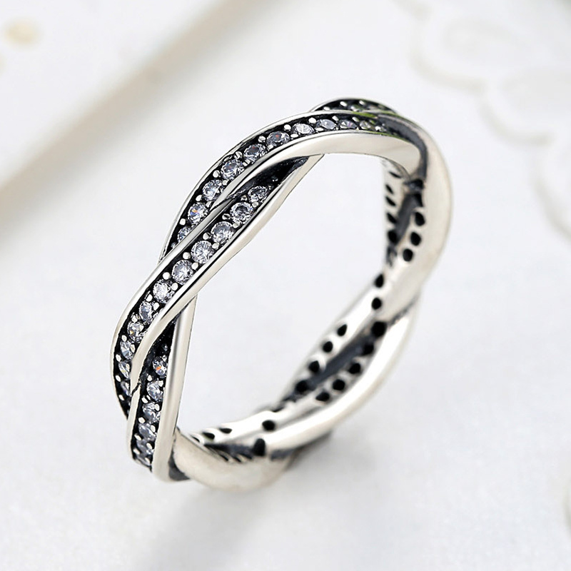 Clear CZ Authentic Twist of Fate Stackable Twisted Ring Jewelry