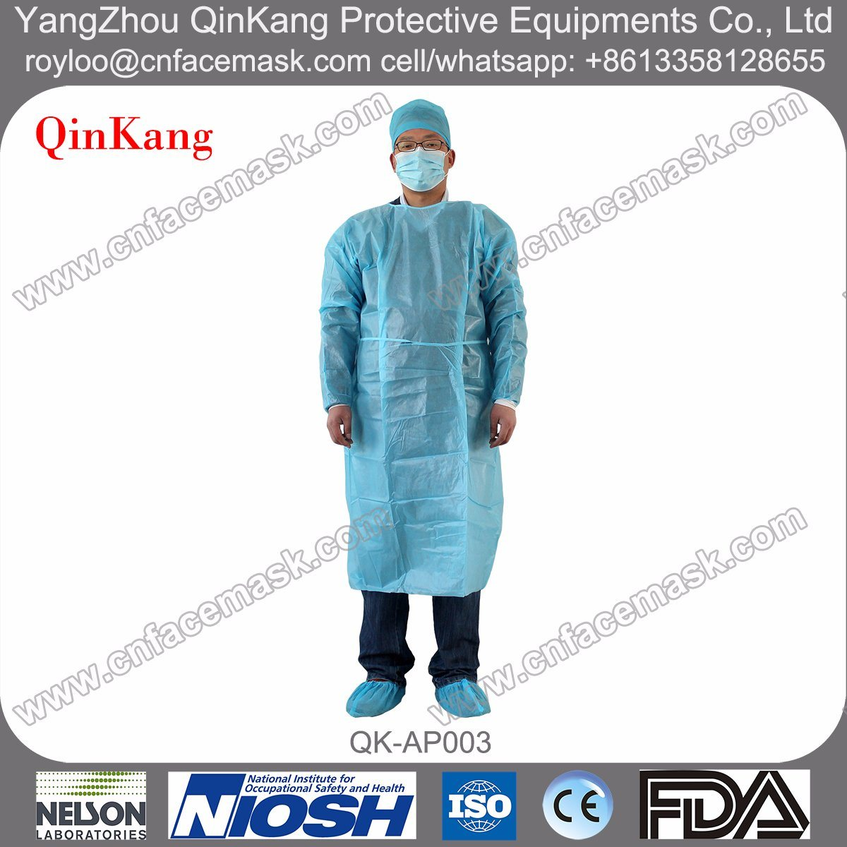 SMS Fabric Fluid-Repellent Medical Disposable Surgical Gown