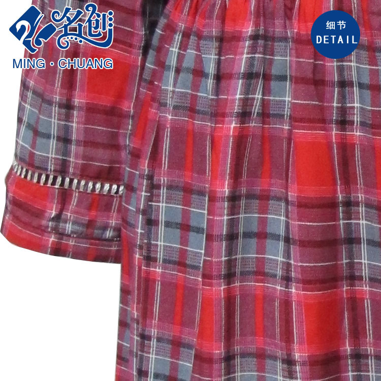 Newstyle Red Rayon Plaid Long Sleeve Round Collar Soft Dress