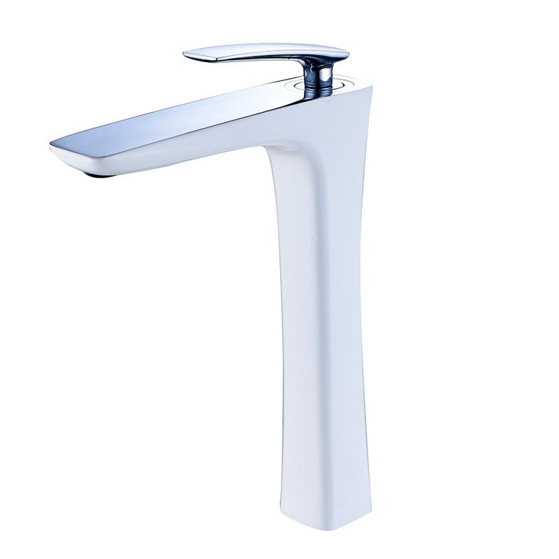 White Paint Chrome Bathroom Water Basin Tap