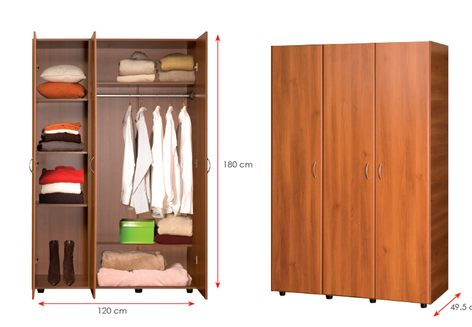 MDF Laminated Wooden Wardrobe (HX-DR342)