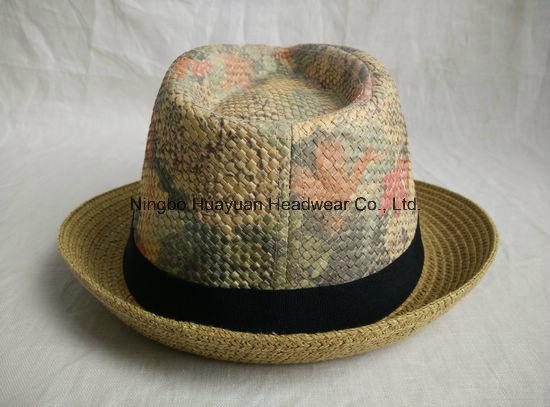 Printed Beach Style Fedora Straw Hat