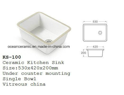 Ks-200 Ceramic Kitchen Sink, Porcelain Lavatory Sink