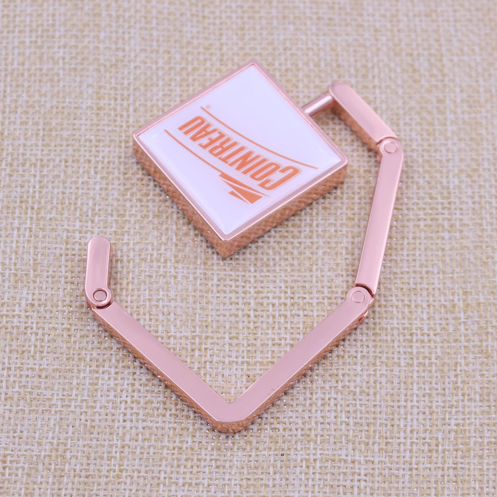 Custom Logo Gifts Metal Pinting Epoxy Folding Purse Bag Hanger (KQ-BH-01)