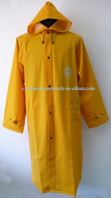 Yellow Long Raincoat with Reflecting Strips and Hood