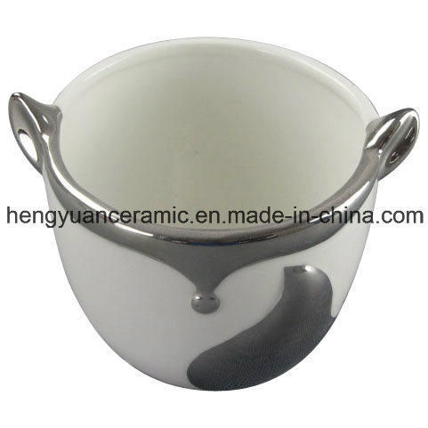 Electroplating Fox Shape Ceramic Flower Pot for Home Furnishings
