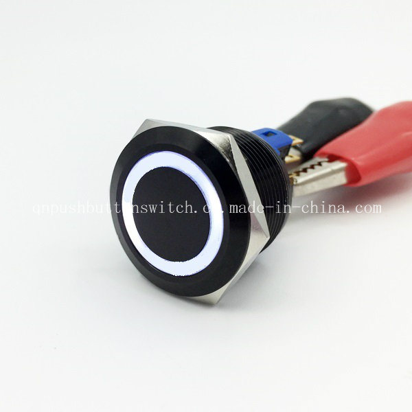 22mm Black Body White 3V LED Latching Push Button Switch