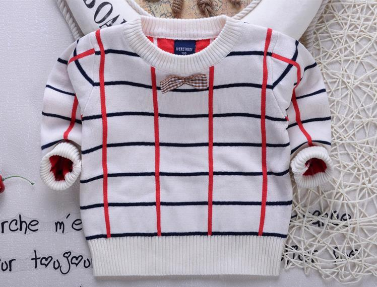 T1241 2015 Boy Sweater Pullover Shirt Autumn Winter Plaid Long Sleeve Bow Knot Knitted Wear Cotton Children Top Clothes