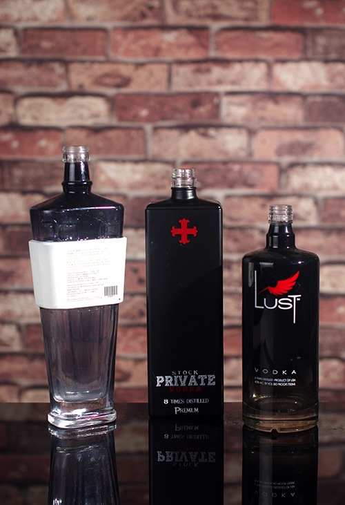 Custom Made Vodka Bottles with Black Color
