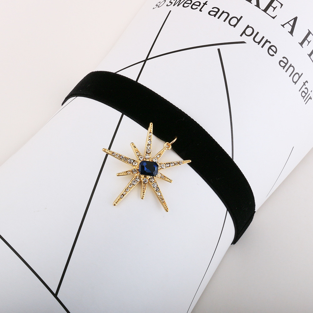 Fashion Korean Velvet Rhinestone-Studded Stars Short Collar Sun Flower Pendant Necklace Jewelry Wholesale