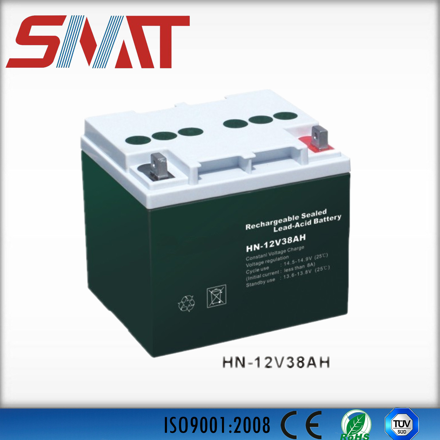 12V38ah Sealed Lead Acid Battery for Solar Power System, UPS