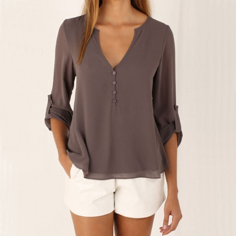 Women′s Sexy Fashion Loose Chiffon Tops Long Sleeve V Neck Casual Blouse