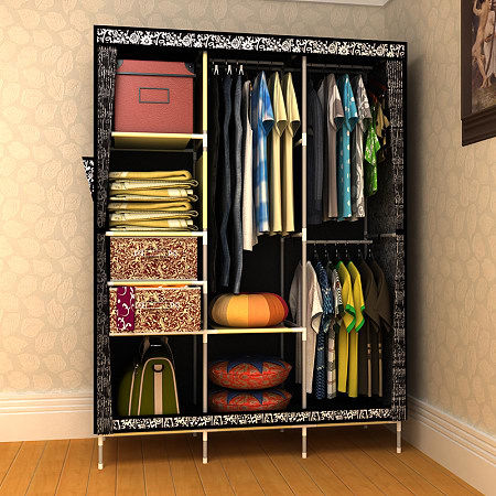 Space Save Simple Design Wooden Walk in Wardrobe