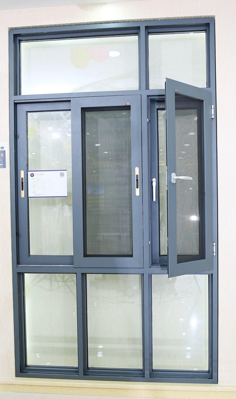 Powder Coated Windows : China powder coated grey color aluminum sliding casement