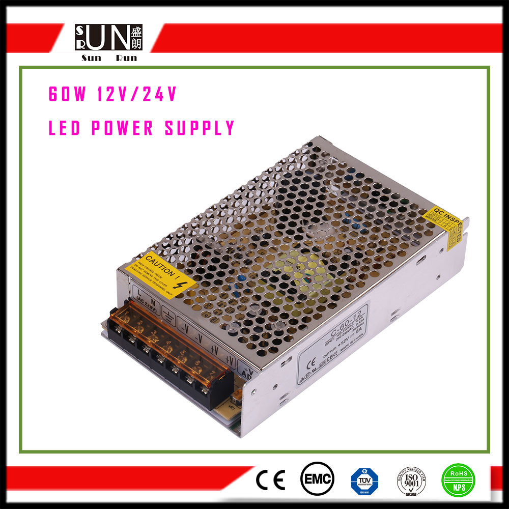 60W 12V 24V LED Driver, AC/DC LED Adapter, AC/DC Power Supply, 60W Constant Voltage 12V Constant Voltage 24V LED DC Switching Power Supply