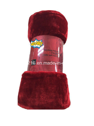 High Quality Mink Blanket Sr-B170224-7 100% Polyester Solid Mink Blanket Solid Raschel Blanket
