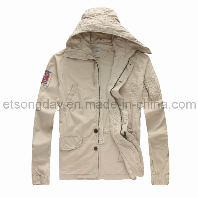 Cream-Coloured 100% Cotton Men′s Casual Jacket with Cap (GDJ-16)