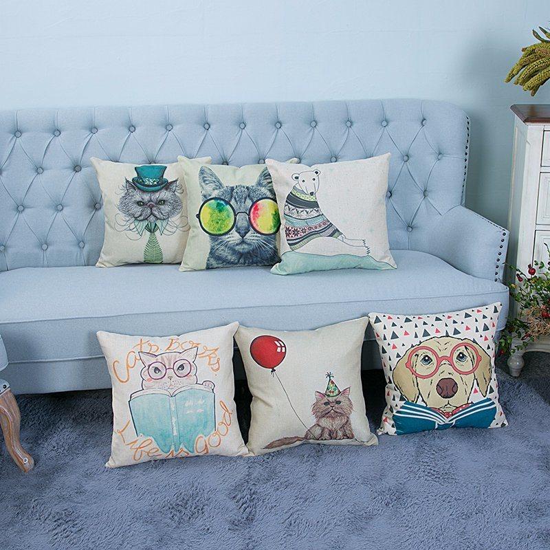 Digital Print Decorative Cushion/Pillow with Cat&Dog Pattern (MX-12)