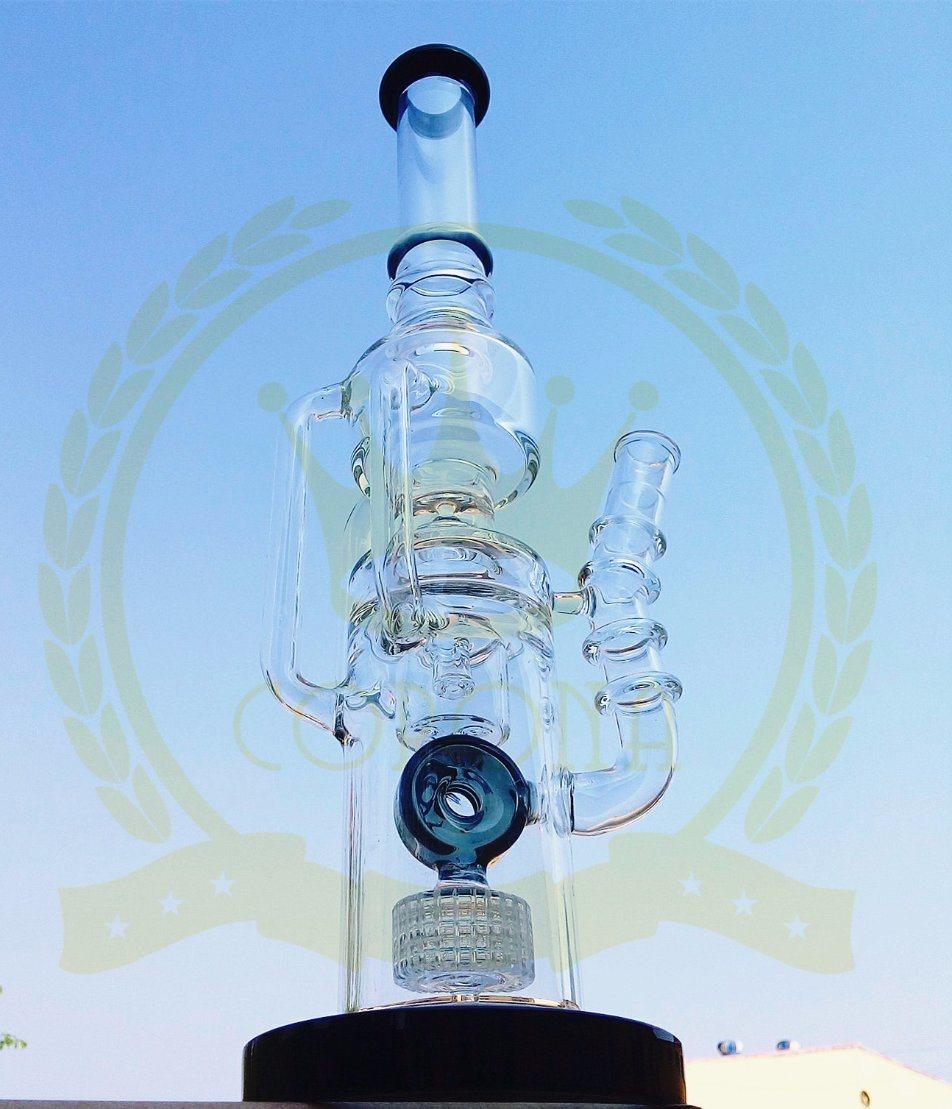 Glass Pillar Perc Shisha Thick Smoking Glass Water Pipe Hookah Hand Blown Heady Tobacco Bubbler Wholesale