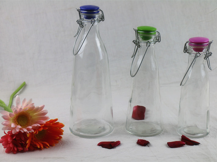Glass Milk/Juice/Water Bottle with Ceramic Swing Top