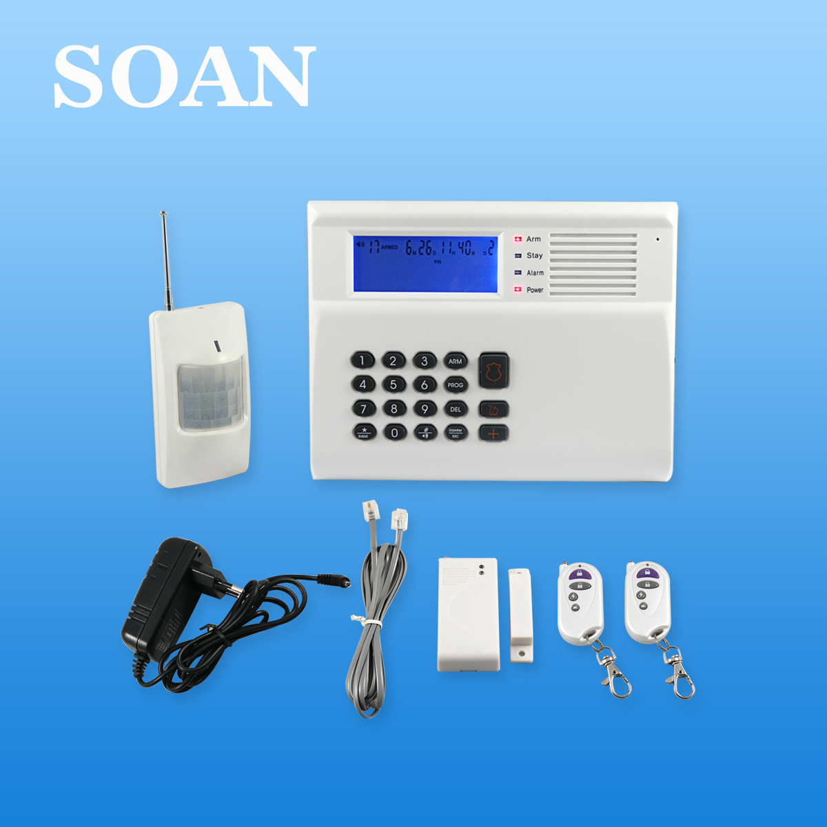 Wired/Wireless LCD Phone Auto Dial Anti-Theft Home Alarm System (SN2300)
