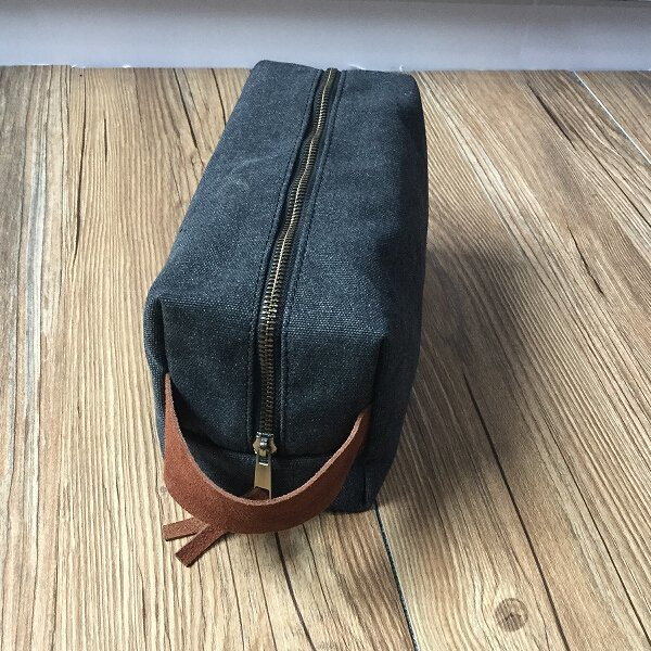 Travel Toiletry Bag Canvas Dopp Kit with Leather Handle