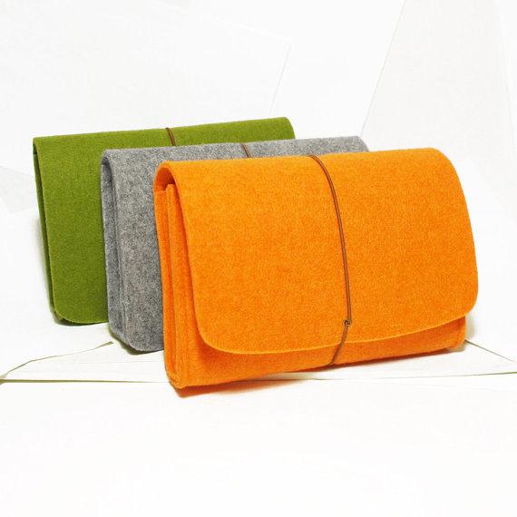 Felt Case-Grey Green Orange Brown, Camera Case, Cosmetic Bag